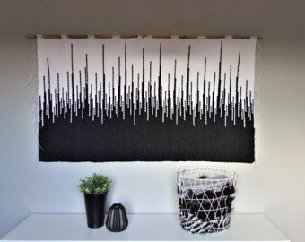 Large wall hanging Large tapestry Woven black and white