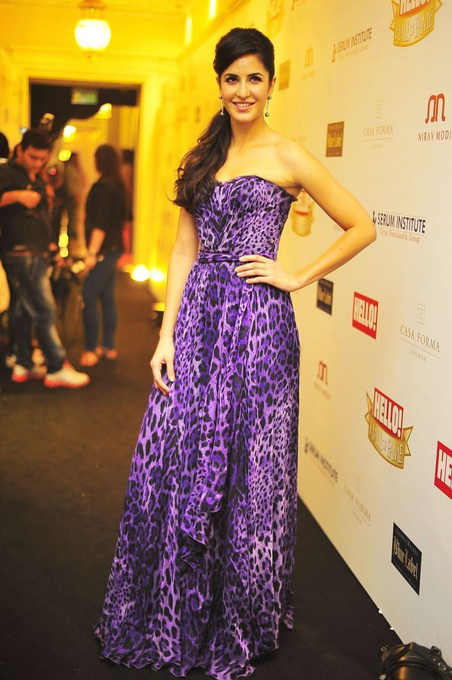 Katrina Kaif looked picture perfect in a purple gown, which she wore for an awards show.