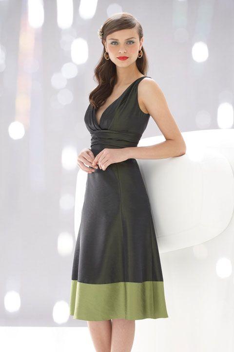 V-neck A-line with ruffle embellishment taffeta dress