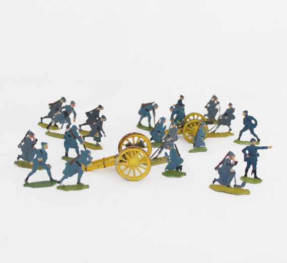 20 Antique Tin Soldiers Lead Soldiers WWI French by OldPrintLoft