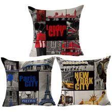 RUBIHOME En Gros (3 pièces/lot) Ville New York Londres Paris Coussin Décoratif Throw Taie D'oreiller De La Maison de Polyester Canapé(China (Mainland))