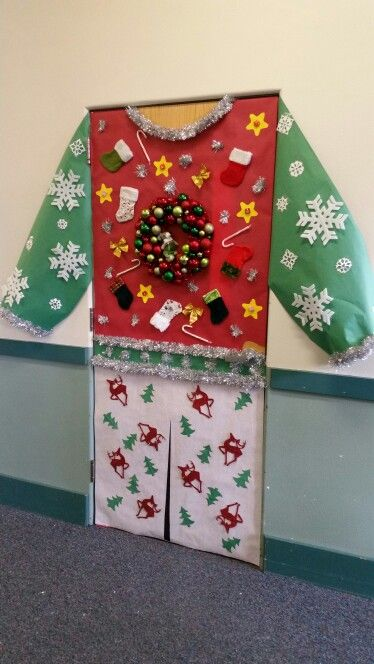 Holiday door holiday door decoration contest 4th place for Home alone office decorations