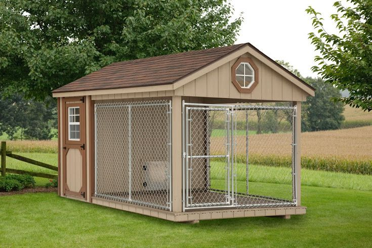 8'x12' Dog Kennel with 8'x8' Run & Insulated 4'x8' Interior: Amish made and available in California from Backyard Unlimited