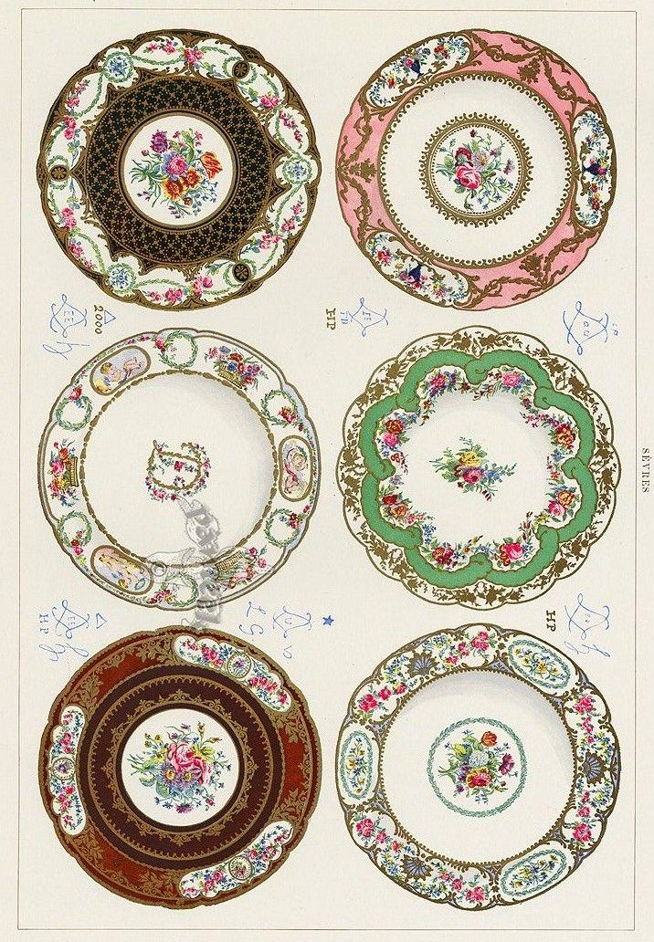 Printable, Porcelain Looking Dollhouse Plates.
