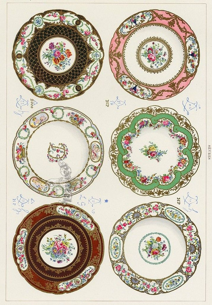 Printable, Porcelain Looking Dollhouse Plates.