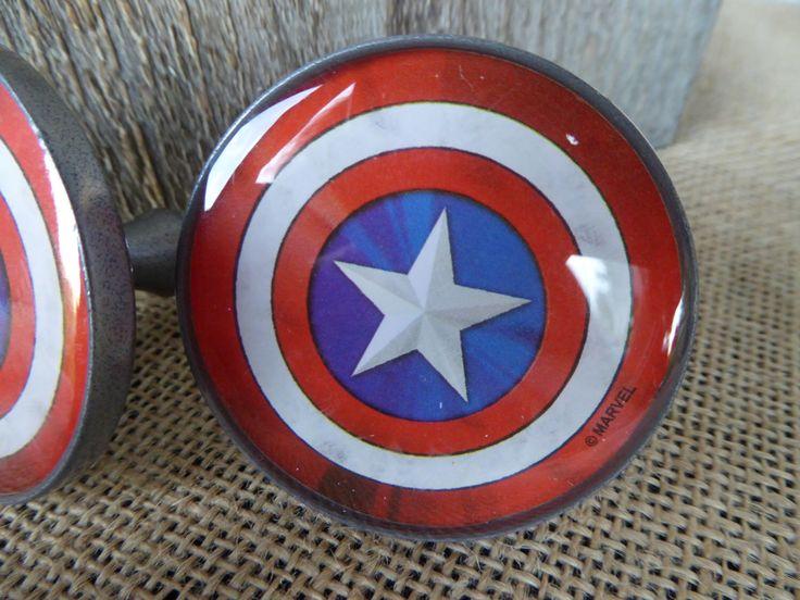 Marvel Comic  Captain America Shield Knob Drawer Pull - Super Hero Superhero Boys Room knobs Decor by RusticBoardwalk on Etsy https://www.etsy.com/listing/451314342/marvel-comic-captain-america-shield-knob