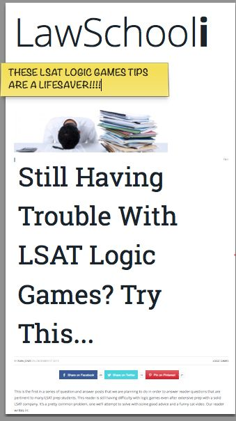 "LSAT LG Plateau Busting! TRY THIS!!! ""Still Having Trouble With LSAT Logic Games? Try This..."""