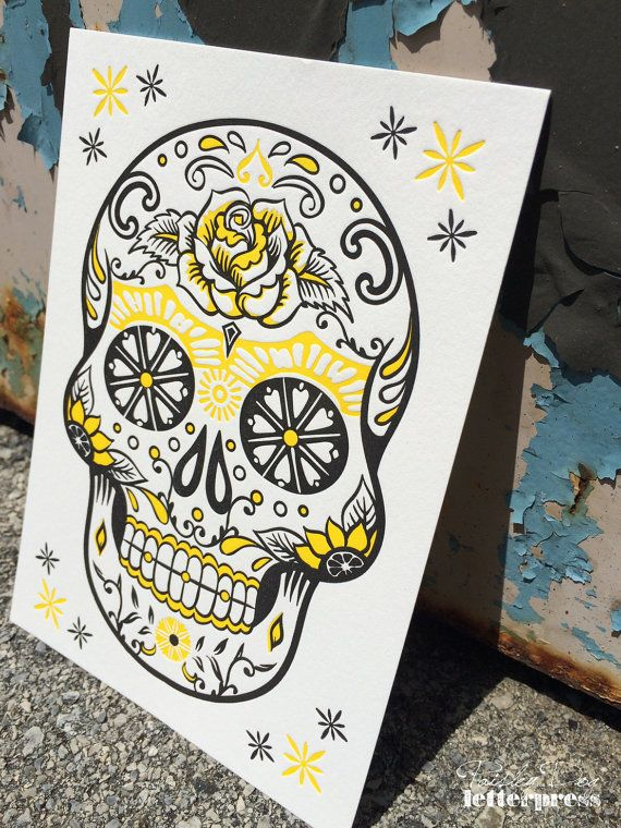 Day of the Dead Skull-Yellow : POSTER/ART PRINT  Art Prints are printed by hand on our vintage platen presses using 100% tree-free cotton paper.  #Letterpress #Skull #Sugarskull #DayoftheDead #ArtPrint