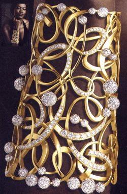 DeBeers shining light gold and diamond cuff