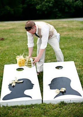 bride and groom corn hole