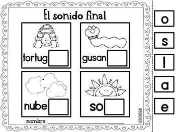 Sonido Final {Ending Sounds in Spanish} $4 for 2 sheets...is it worth it? Pinning it just in case.