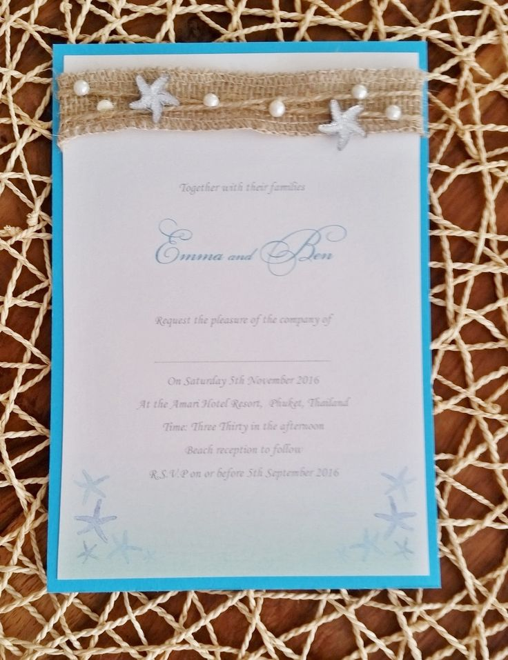 Beautiful blue ombr beach wedding Invitation cards