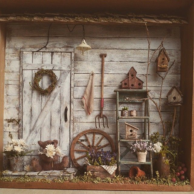 """♡ ♡ """"#miniature#dollshouse#garden#gardenshed#teddybear#"""