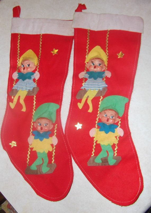 Christmas stockings 2 vintage knee hugger  elf  face by pgriff, $20.00