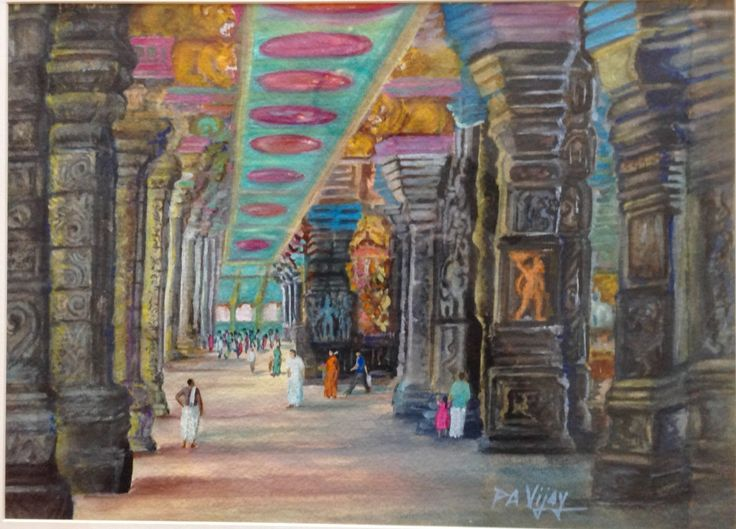 Interiors of Meenakshi Goddess temple in Madurai, South India. Painting in watercolor on paper. National Award.