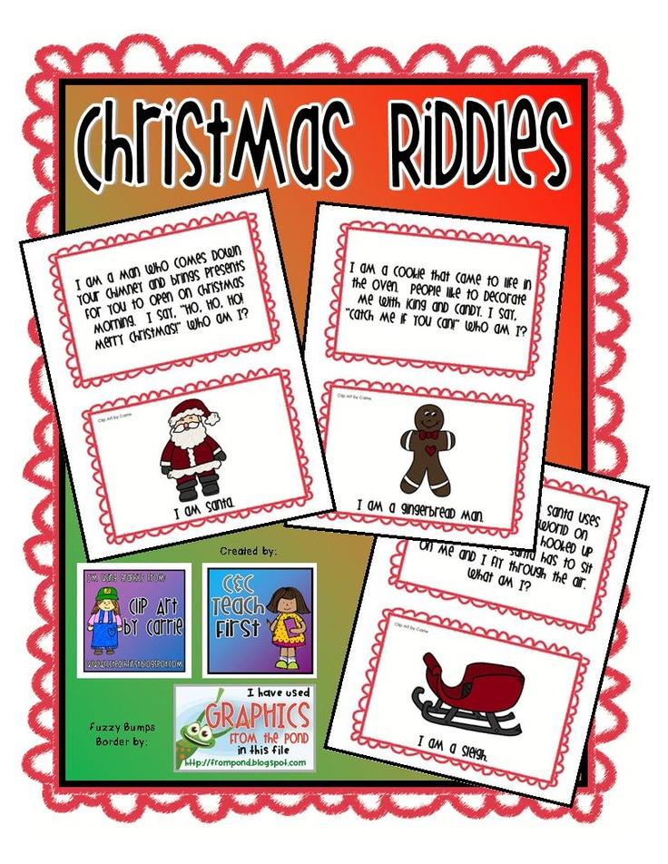 Christmas Riddles by C & C Teach First: www.ccteachfirst.blogspot.com