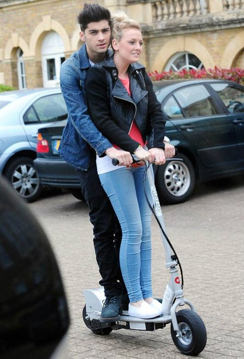 "I totally ship Zayn Malik and Perrie Edwards Zayn doesn't have a car so he ""drives"" a scooter lol!!!!:)"