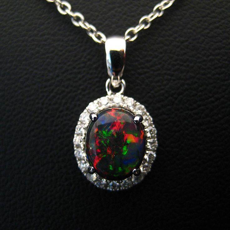 100% Australian black opal and diamond pendant. Gorgeous black opal! #opalsaustralia