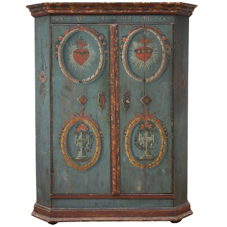 "19th Century, Austrian Painted ""Heart-Jesus"" Armoire 