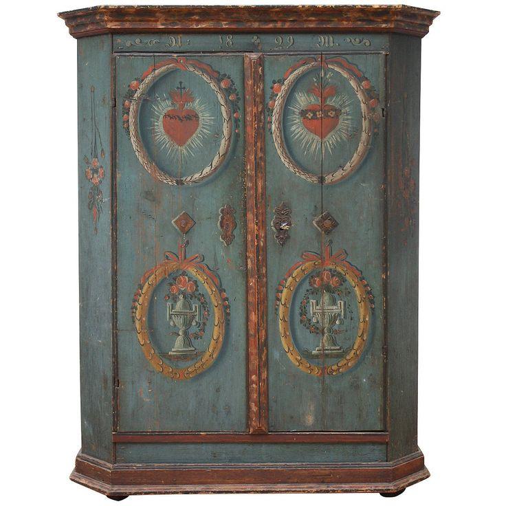 "Austrian, Salzburg Folk Art, polychromic painted armoire or wardrobe. Original painting on pinewood. Door left side ""heart-Jesus,"" door right side ""heart-Marias"". Dated 1829."