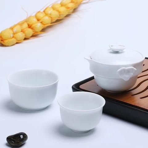 Longxun Ceramic Portable Travel 2 in 1 Tea Set