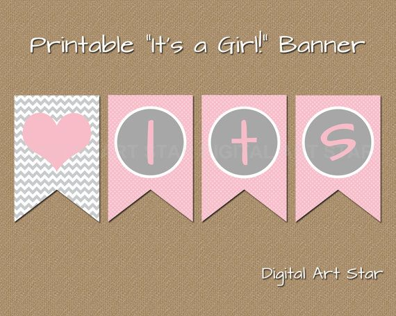 Its A Girl Banner Template Printable Baby ...