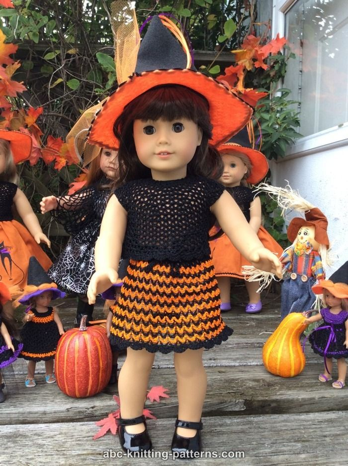 American Girl Doll Halloween Skirt and Top - http://www.abc-knitting-patterns.com/1447.html