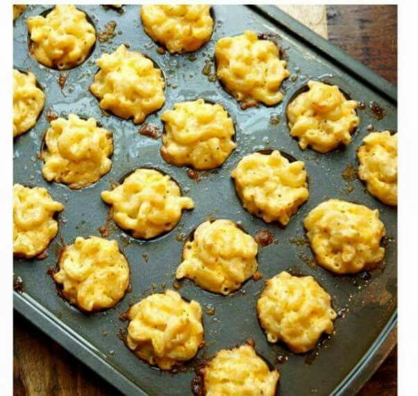Baked Mac n cheese bites. Add Ritz crackers to bottom and cheese mix.