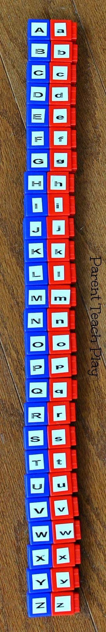 alphabet letter upper and lowercase recognition using cubes or legos