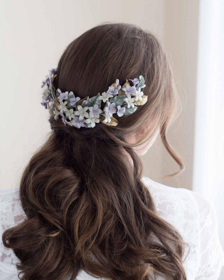 Back headpiece. Bridal headpiece. Tocado de porcelana.