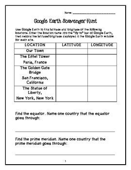 This activity is used to teach students how to use Google Earth.  Students are asked to find the latitude and longitude of famous landmarks.  They must also locate the equator and prime meridian.