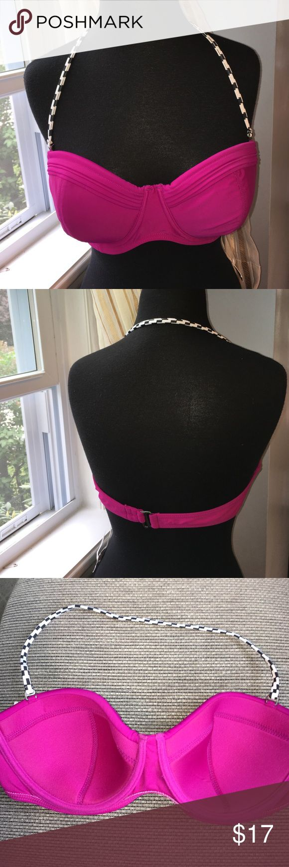 Converse hot pink checkered underwire bikini top It's bikini top is new with tags from a non-smoking household with a black and white checkered halter string and full underwire lightly padded no push-up Converse Swim Bikinis