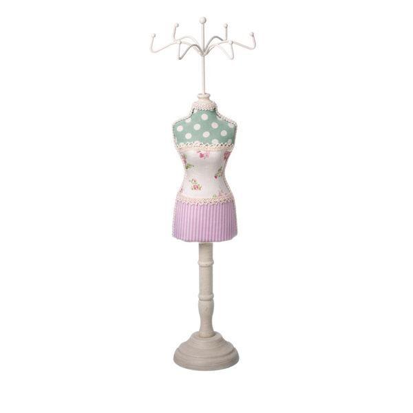 Suport bijuterii perfect pentru bratari si inele, inaltime suport 39.5 cm, model rochie roz