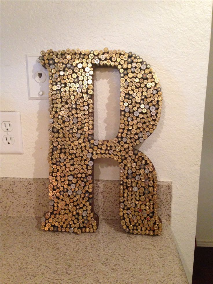 Bullet recycling! Crafting with wooden letters, hot glue and empty shell casings! Initial perfect for den, kitchen or man cave!