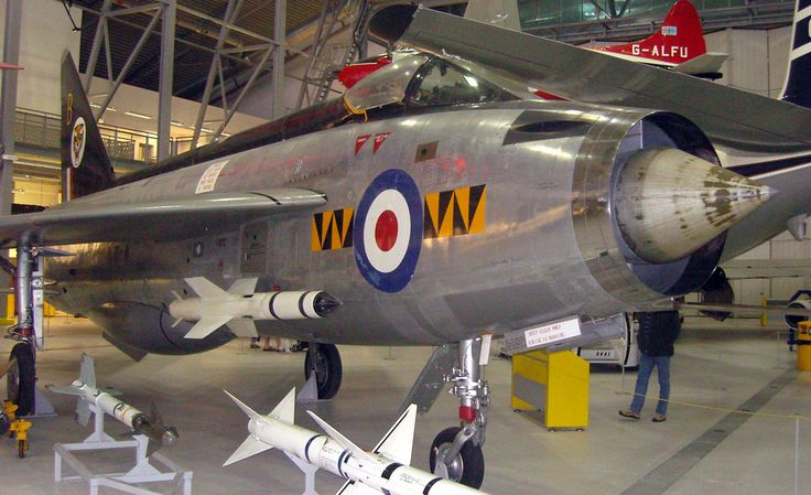 English Electric Lightning F.1, on display at the Imperial War Museum, Duxford Cambridgeshire.