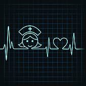 Clip Art of Heartbeat make nurse face and heart k17992118 - Search Clipart, Illustration Posters, Drawings, and EPS Vector Graphics Images - k17992118.eps
