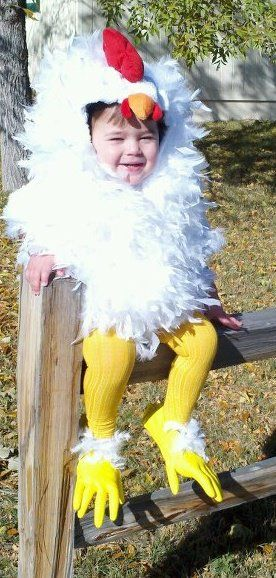 Adorable Chicken costume made from an old hoodie and feather boa's!