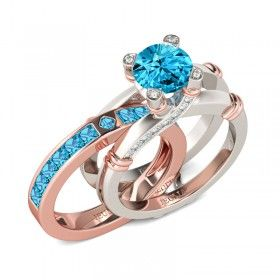 Two-tone Round Cut Aquamarine Rhodium Plated Sterling Silver Women's Ring