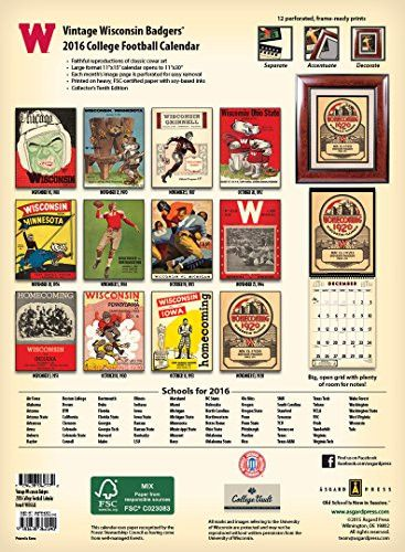 Wisconsin Badgers 2016 Vintage Football Calendar
