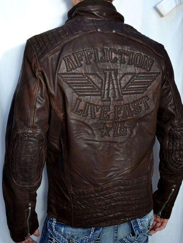 Affliction Shock Value Men's Leather Jacket Biker New 110OW007 Brown   eBay