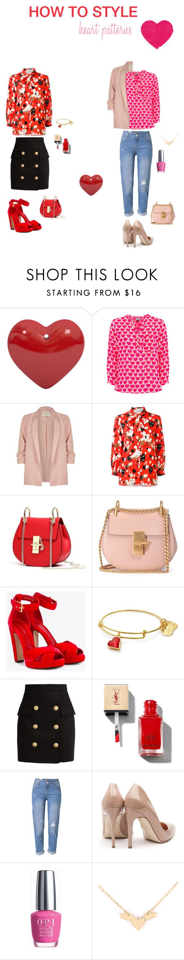 """""""Heart Patterns"""" by stephanie-barnett ❤ liked on Polyvore featuring Mercy Delta, River Island, VIVETTA, Chloé, Alexander McQueen, Balmain, WithChic, Rupert Sanderson and OPI"""