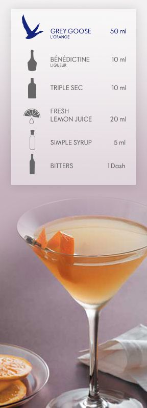 GREY GOOSE® L'ORANGE: BETWEEN THE SHEETS. GREY GOOSE L'Orange Flavoured Vodka is a fresh twist on this traditional cocktail. Add all ingredients to a cocktail shaker filled with ice, and shake vigorously. Strain into a chilled martini cocktail glass, and garnish with an orange twist. #FlyBeyond