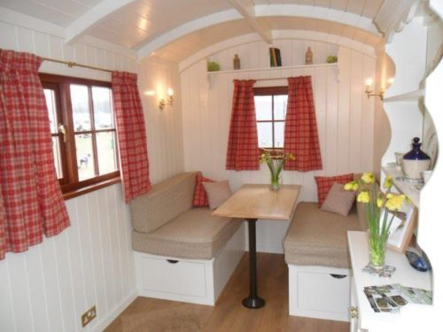 Interior of a Tithe Barn Shepherd hut for sale on ebay for a mere £14,300
