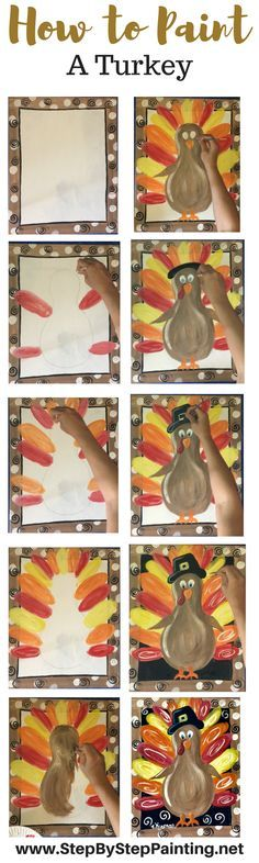 How to Paint a Thanksgiving Turkey on Canvas. Step by step painting tutorial for beginners and even kids!!