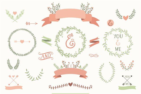 Laurels, Wreaths, Ribbons - Illustrations