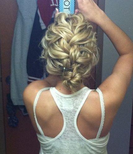 Messy French Braid Bun I. Love. This. Must grow hair a little longer.