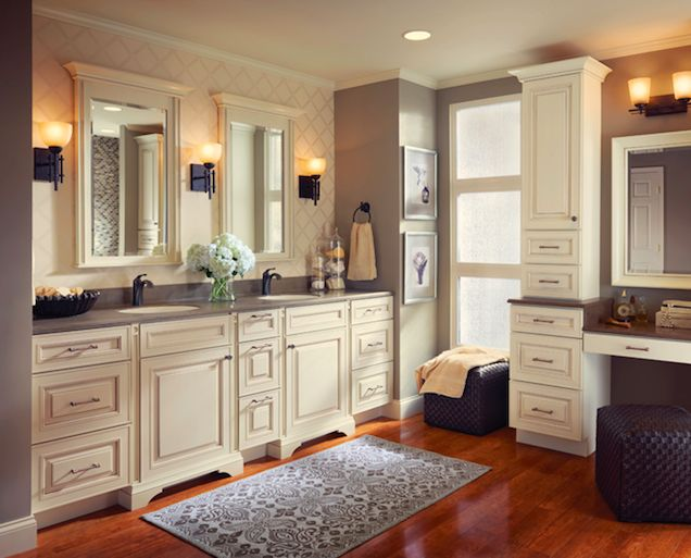 Contemporary Art Websites Lowes KraftMaid Style and storage abound in this luxurious master bathroom where a bath accent collection adds extra flair to cabinetry in the bathing and