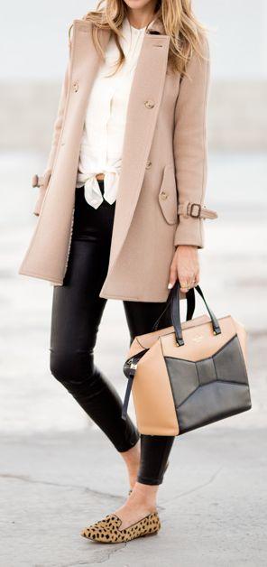 White top, camel coat, black skinnies, cheetah flats
