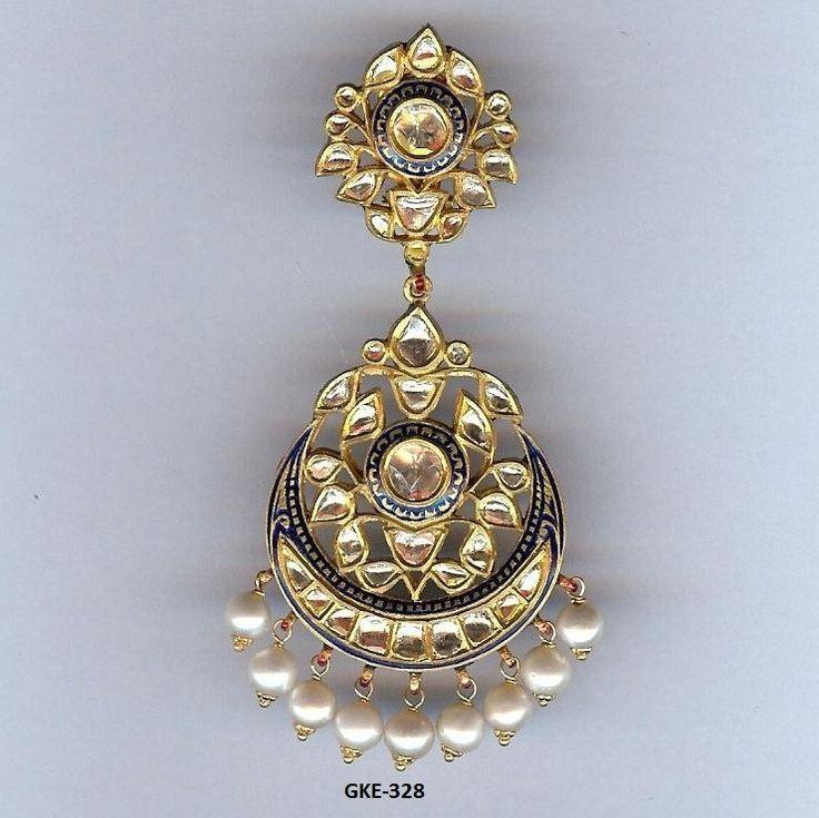 Kundan Meena Earring GROSS WT.(gm.): 45.500 GOLD WT.(gm.): 35.924 SILVER WT.(gm.): 3.306 DIA WT.(ct.): 0.000 POLKI WT.(ct.): 6.350 STONE WT.(ct.): 0.000 PEARL WT.(ct.): 25.000