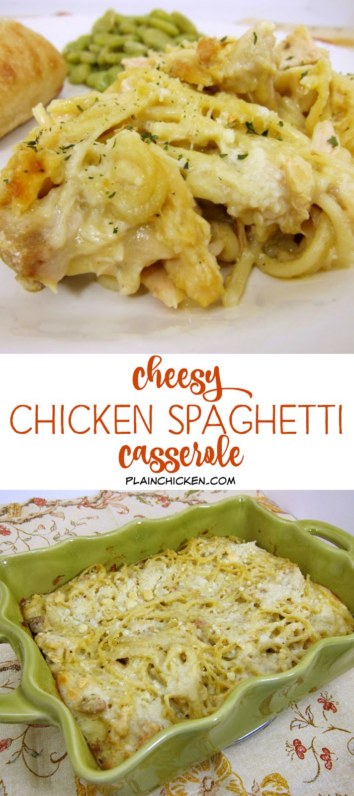 Cheesy Chicken Spaghetti Casserole - spaghetti, chicken, cream of chicken, milk, onion, garlic, mozzarella and parmesan cheese - Ready in 30 minutes! We love this quick weeknight meal!! Can make ahead of time and freeze or refrigerate for later. Kids love this casserole!!
